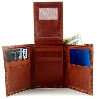 Men Brown Ostrich Genuine Leather Tri Fold Tri Fold Wallet Y143