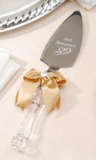 50TH WEDDING ANNIVERSARY CAKE KNIFE SERVER GOLD