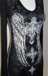 CRYSTAL CROSS ANGEL WINGS TATTOO BLACK RUFFLE DRESS TUNIC & ED HARDY