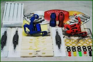 Tattoo Supply Kit 2 Machine Guns Grips Needle Set D55 1
