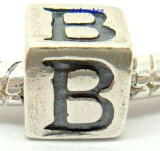 1pcs Authentic 925 Sterling Silver European Bead /Charms/LETTER A Z