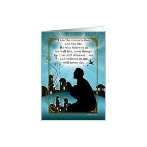 Religious Easter Card Man Praying John Scripture Card