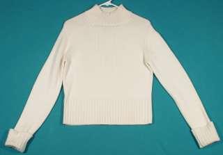 Ann Taylor Size M 8 10 Crème Italian Merino Wool Turtleneck Mock