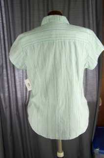 AVENTURA Button Front V Neck Cap Sleeves Light Blue SHIRT Cotton Top
