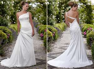stunning white satin Wedding bridal Dress formal gown A Line zipper