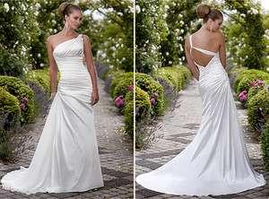 stunning white satin Wedding bridal Dress formal gown A Line zipper