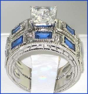 ANTIQUE White Gold EP lab Sapphire & Diamond Bridal Wedding Ring Set