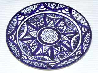 Vintage Blue White Spanish Pottery Pintado A Mano Plate Signed by