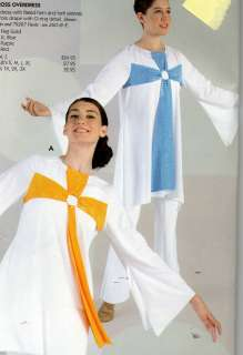 Tunic Liturgical Church Dance White blue cross Top Ladies