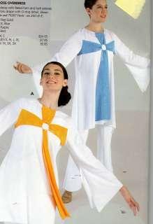 Tunic Liturgical Church Dance White blue cross Top Ladies |
