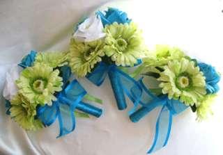 Wedding Bouquet Silk Bridal flower TURQUOISE GREEN DAISY 10pc