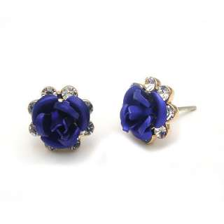 Rose 18K Yellow Gold Plated Stud Earrings 83709