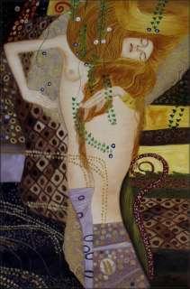 Painted Oil Painting Repro Gustav Klimt Water Snakes 24x36in