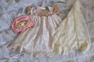 Strawberry & Cream~French Lace Dress, Blanket & Hat 4 Reborn Baby
