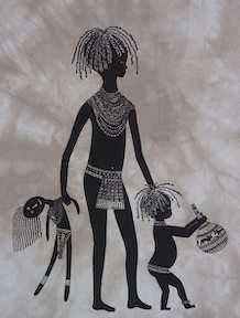 Child with Doll Heidi Lange Screen Print   Kenya