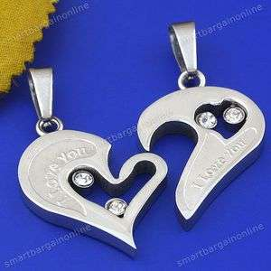 1SET Silver Tone Love Couple Heart Jigsaw Stainless Steel Pendant