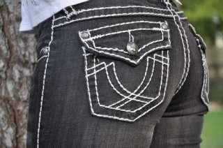 LA Idol jeans SZ 0 15 BLACK white stitching BOOT CUT FAST SHIPPING