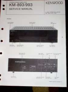 Kenwood Service/Repair Manual~KM 893/993 Amp Amplifier