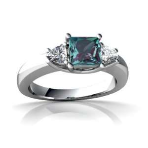 14K White Gold Square Created Alexandrite Ring Size 4 Jewelry