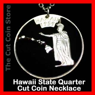 Aloha Hawaii 25¢ HI Quarter Cut Coin Pendant Necklace Hawaiian Island