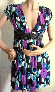 Purple Print Gracia Tunic Top Leather Braid Belt L NWT