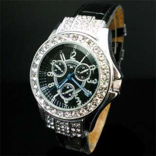 Trendy Black Leather Bling Crystal Rhinestone Lady Wrist Watch
