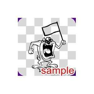 CARTOON TAZ AND A FLAG WHITE VINYL DECAL STICKER