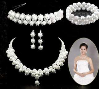 FAUX PEARL BRIDAL WEDDING PARTY JEWELLERY NECKLACE EARRING TIARA