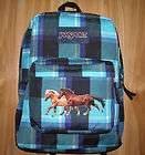 Girl HORSE Backpack~JanSpo​rt~2 HORSES Running~Blue/Pu​rp