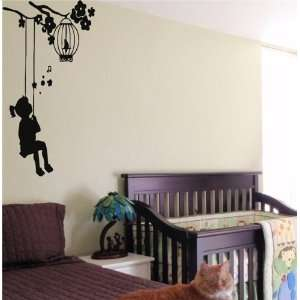 GIRL SWING KIDS WALL ART STICKER BABY ROOM NURSERY 26