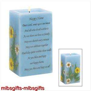 Happy Home Blessing Prayer Poem Vanilla Scent Blue Candle   Item