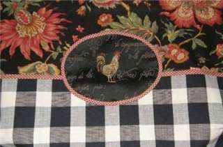 VALANCE French Country Rooster Balloon Shade CURTAIN Plaid Floral