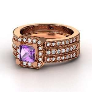 Va Voom Ring, Princess Amethyst 14K Rose Gold Ring with