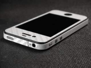 Silver Carbon Fibre Body Wrap Vinyl Skin for iPhone 4S