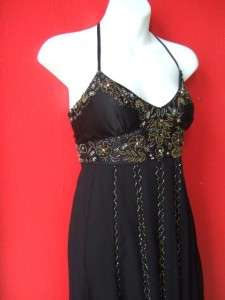 ADRIANNA PAPELL black beaded SILK halter PARTY dress BUBBLE HEM $238