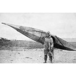 Eskimo Carrying Kayak Nome, Alaska 8x12 Silver Halide