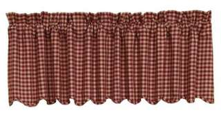 Country Burgundy and Tan Lined Window Valance 16x72