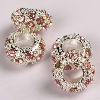 Pink Crystal Spacer Findings Charm Fit Bracelet 10pcs