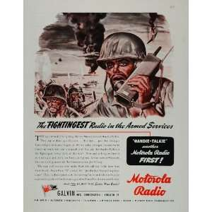 1944 Ad Motorola Handie Talkie 2 Way Radio Soldier WWII