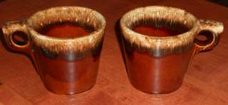 Vintage Hull Brown Drip Pottery Coffee Mugs Flat Bottom Set of 2 USA