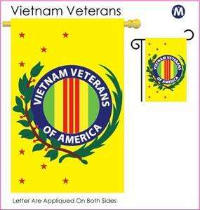 VIETNAM VETERANS LARGE FLAG W/SPARKLE, GLITTER STITCHES