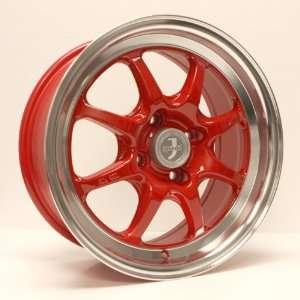 15x7 Enkei J SPEED (Red w/ Machined Lip) Wheels/Rims 4x100
