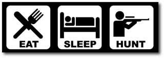 Eat Sleep Hunt Funny Bumper Sticker Big Buck Hunter Elk