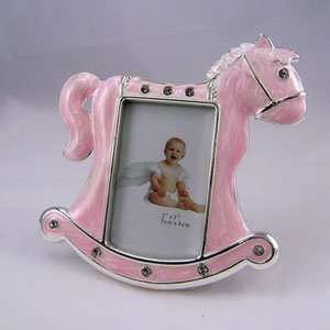 Pink Rocking Horse Epoxy Frame with Rhinestones