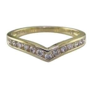 1/4 CT V Shape Diamond Wedding Band 14K Yellow Gold In