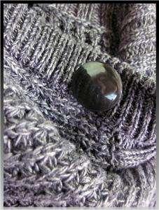 KENNETH COLE Grey SLOUCHY KNIT Big Collar Button CARDIGAN Sweater COAT