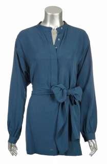 Sutton Studio Womens 100% Silk Georgette Tunic With Belt Top Shirt