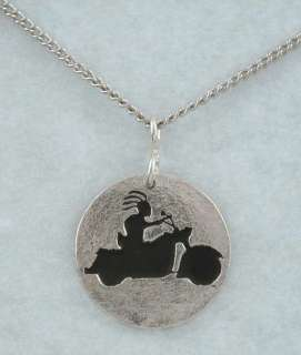 Kokopelli Riding Harley Heritage Classic, Necklace Ster