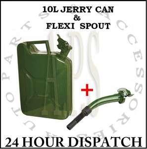 METAL FUEL JERRY CAN DIESEL PETROL OIL 10 LITRE GREEN + FLEXIBLE SPOUT