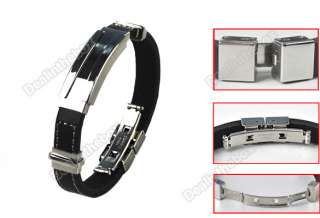 Cool Stainless Steel Rubber Bracelet Wristband Bangles Fashion